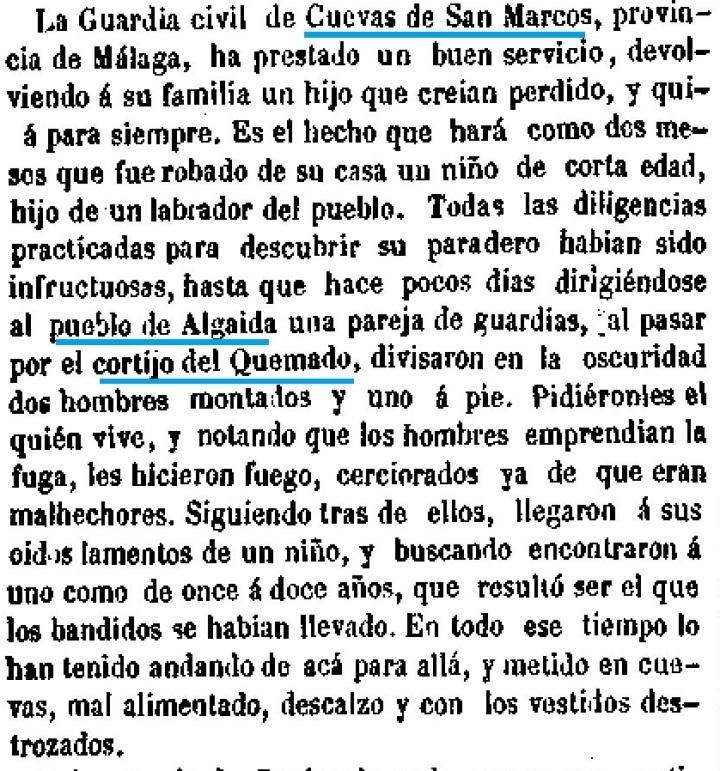1857 11 7 Guardia Civil recupera niño robado LA ESPAÑA Fragmento .jpg