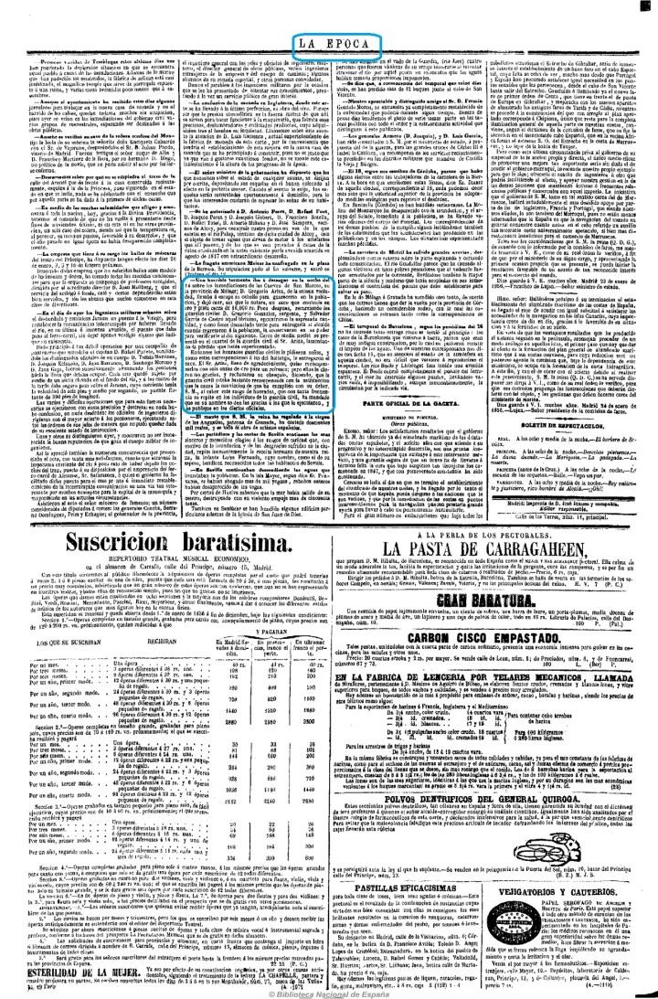 1856 01 25 Guardia Civiles encuentran Bolsa Oro Ariza   La Epoca-001 P.jpg