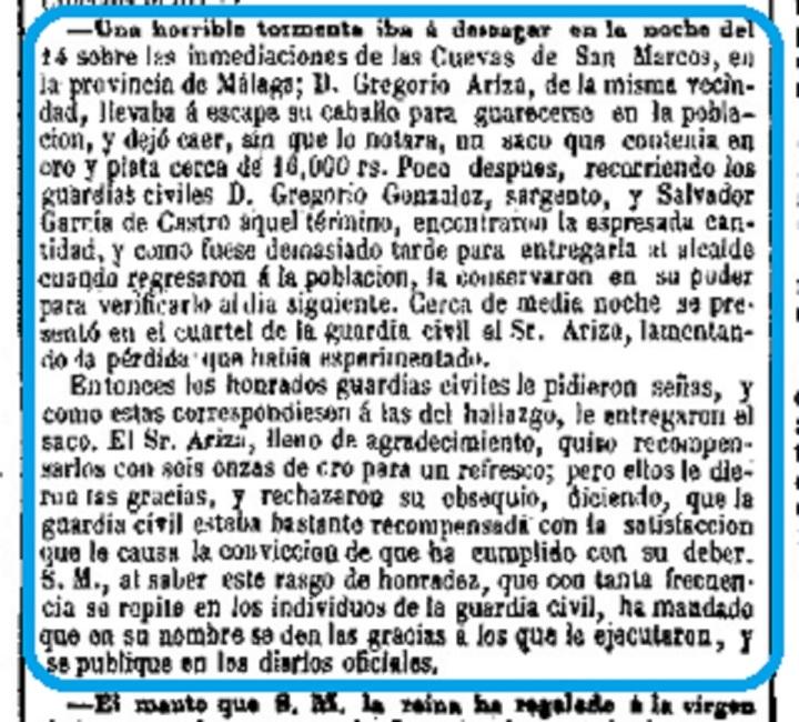 1856 01 25 Guardia Civiles encuentran Bolsa Oro Ariza   La Epoca-001 Recote.jpg