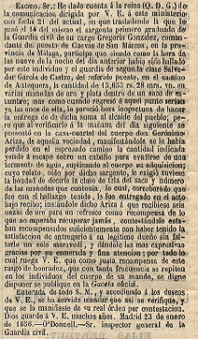 1856 01 25 Guardia Civiles encuentran Bolsa Oro Ariza   La Nacion-001 Recorte 8.jpg
